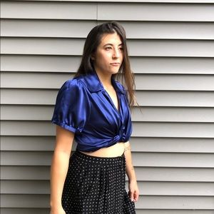 Early 2000s Blue Silk Button Down